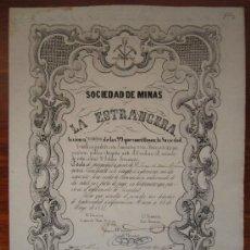 Coleccionismo Acciones Españolas: ACCIÓN SOCIEDAD DE MINAS LA ESTRANGERA. MURCIA, 1854. Lote 34384029