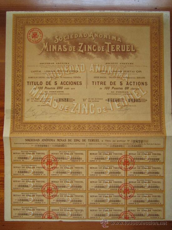 ACCIÓN SOCIEDAD ANÓNIMA MINAS DE ZINC DE TERUEL. TOLOSA, 1906 (Coleccionismo - Acciones Españolas)