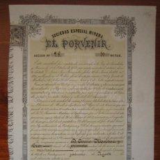 Coleccionismo Acciones Españolas: ACCIÓN SOCIEDAD ESPECIAL MINERA EL PORVENIR. MINA DOS DE ENERO. CARTAGENA, 1876. Lote 34385484