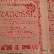 Coleccionismo Acciones Españolas: ACCION TRANVIAS ELECTRICOS DE ZARAGOZA - DÉCIMO DE ACCION -1908 SERIE ROJA TODOS SUS CUPONES. Lote 34453158