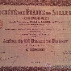 Coleccionismo Acciones Españolas: ACCION SOCIEDAD DE ESTAÑOS DE SILLEDA - PONTEVEDRA - GALICIA 1927. Lote 34453319