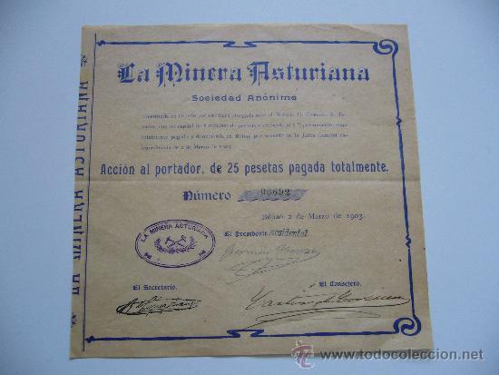 ACCIÓN LA MINERA ASTURIANA S.A. BILBAO 1903 (Coleccionismo - Acciones Españolas)