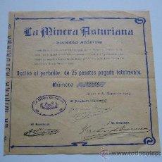 Coleccionismo Acciones Españolas: ACCIÓN LA MINERA ASTURIANA S.A. BILBAO 1903. Lote 34496129