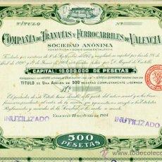 Coleccionismo Acciones Españolas: ACCION, CIA TRANVIAS Y FERROCARRILES DE VALENCIA 1924 ,LEER DESCRIPCION ,ORIGINAL, AC318. Lote 194619013
