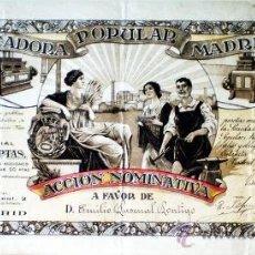 Coleccionismo Acciones Españolas: ACCION 1916.- PANIFICADORA POPULAR MADRILEÑA, S.A. DE 50 PTS. NOMINATIVA Y 9 CUPONES. Lote 30199590