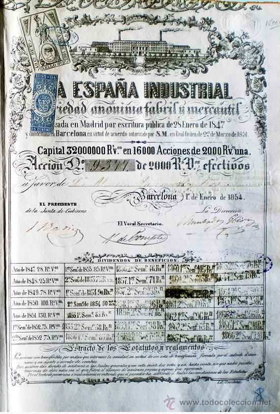 ACCION 1854.- LA ESPAÑA INDUSTRIAL FABRIL Y MERCANTIL, S.A. DE 2.000 REALES DE VELLÓN (Coleccionismo - Acciones Españolas)