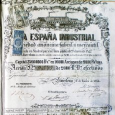 Coleccionismo Acciones Españolas: ACCION 1854.- LA ESPAÑA INDUSTRIAL FABRIL Y MERCANTIL, S.A. DE 2.000 REALES DE VELLÓN. Lote 30180684