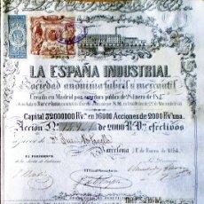 Coleccionismo Acciones Españolas: ACCION 1854.- LA ESPAÑA INDUSTRIAL FABRIL Y MERCANTIL, S.A. DE 2.000 REALES DE VELLÓN. Lote 51557610