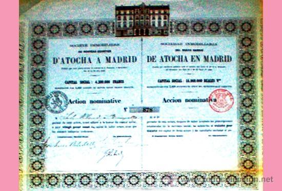 ACCION 1863.- SOCIEDAD INMOBILIARIA DEL NUEVO BARRIO DE ATOCHA EN MADRID. NOMINATIVA DEL 20% (Coleccionismo - Acciones Españolas)