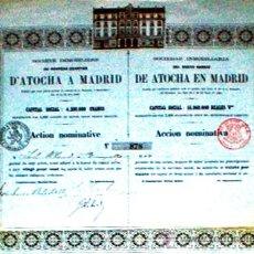 Coleccionismo Acciones Españolas: ACCION 1863.- SOCIEDAD INMOBILIARIA DEL NUEVO BARRIO DE ATOCHA EN MADRID. NOMINATIVA DEL 20%. Lote 30181720