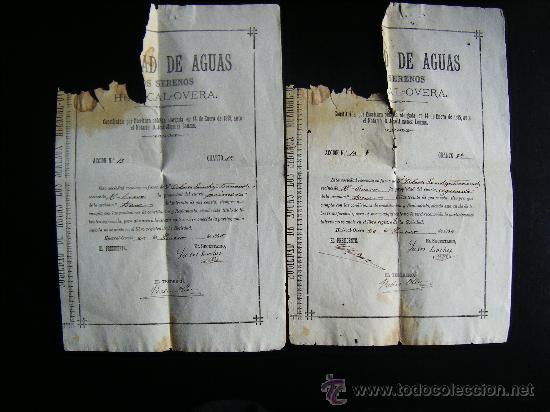 Coleccionismo Acciones Españolas: LOTE 2 ACCION SOCIEDAD DE AGUAS LOS SERENOS, HUERCAL OVERA, ALMERIA, 1895, ACCION AGUA, 2 CUARTOS. - Foto 2 - 34884674