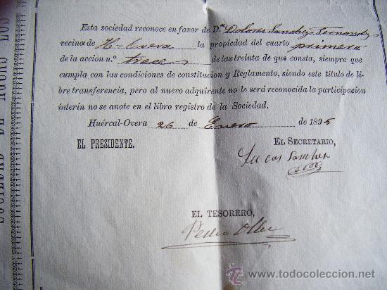 Coleccionismo Acciones Españolas: LOTE 2 ACCION SOCIEDAD DE AGUAS LOS SERENOS, HUERCAL OVERA, ALMERIA, 1895, ACCION AGUA, 2 CUARTOS. - Foto 4 - 34884674