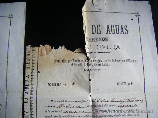 Coleccionismo Acciones Españolas: LOTE 2 ACCION SOCIEDAD DE AGUAS LOS SERENOS, HUERCAL OVERA, ALMERIA, 1895, ACCION AGUA, 2 CUARTOS. - Foto 5 - 34884674