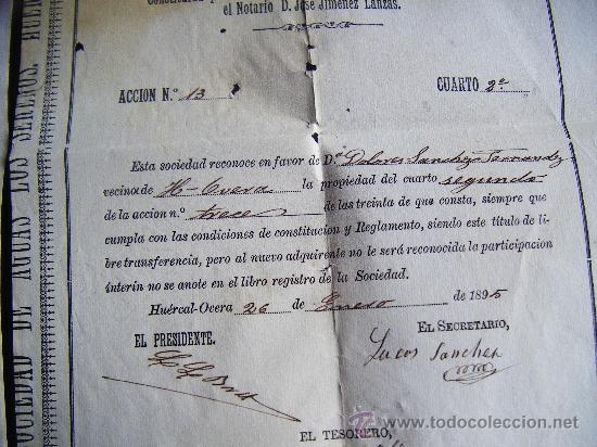 Coleccionismo Acciones Españolas: LOTE 2 ACCION SOCIEDAD DE AGUAS LOS SERENOS, HUERCAL OVERA, ALMERIA, 1895, ACCION AGUA, 2 CUARTOS. - Foto 6 - 34884674