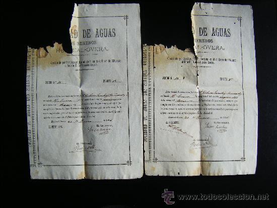 LOTE 2 ACCION SOCIEDAD DE AGUAS LOS SERENOS, HUERCAL OVERA, ALMERIA, 1895, ACCION AGUA, 2 CUARTOS. (Coleccionismo - Acciones Españolas)