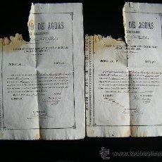 Coleccionismo Acciones Españolas: LOTE 2 ACCION SOCIEDAD DE AGUAS LOS SERENOS, HUERCAL OVERA, ALMERIA, 1895, ACCION AGUA, 2 CUARTOS.. Lote 34884674