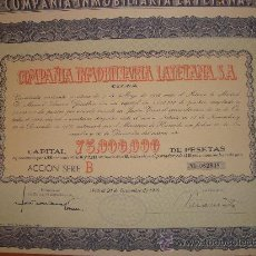 Coleccionismo Acciones Españolas: COMPAÑIA INMOBILIARIA LAYETANA 1946*. Lote 34864441