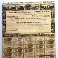 Coleccionismo Acciones Españolas: TRANVIA O FERROCARRIL ECONÓMICO DE MANRESA A BERGA. FFCC. FERROCARRILES. TRANVIAS. BERGADA.. Lote 34903589