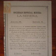 Coleccionismo Acciones Españolas: ACCIÓN SOCIEDAD ESPECIAL MINERA LA SERENA. CARTAGENA, 1883. Lote 34933114