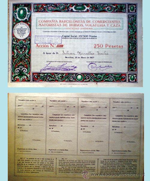 1923.-CIA. BARCELONESA DE COMERCIANTES MAYORISTAS DE HUEVOS, VOLATERIA Y CAZA, S.A. (Coleccionismo - Acciones Españolas)