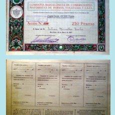 Coleccionismo Acciones Españolas: 1923.-CIA. BARCELONESA DE COMERCIANTES MAYORISTAS DE HUEVOS, VOLATERIA Y CAZA, S.A.. Lote 34940573