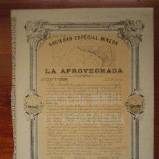 Coleccionismo Acciones Españolas: ACCIÓN SOCIEDAD ESPECIAL MINERA LA APROVECHADA. MINA PERSEVERANTE (LOMICA LARGA). CARTAGENA, 1874. Lote 34989350