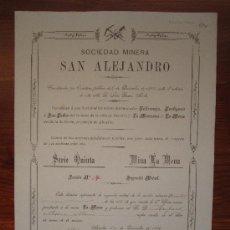 Coleccionismo Acciones Españolas: ACCIÓN SOCIEDAD MINERA SAN ALEJANDRO. MINA LA MENA. AGUILAS, 1900. Lote 34989406