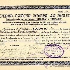 Coleccionismo Acciones Españolas: CARTAGENA ACCIÓN SOC. ESP. MINERA . Lote 35054176