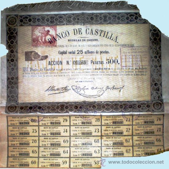 1880.- ACCION DEL BANCO DE CASTILLA, CON PAPEL TIMBRADO DE 1 PTA. IMPRESO Y 23 CUPONES. MUY RARA. (Coleccionismo - Acciones Españolas)