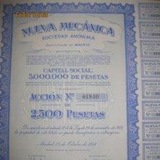 Coleccionismo Acciones Españolas: ACCION- NUEVA MECANICA, S.A.-- OCTUBRE 1954. Lote 35124319