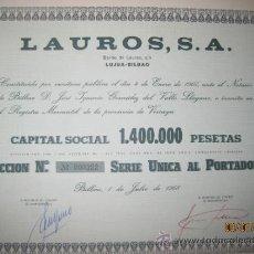Coleccionismo Acciones Españolas: ACCION-LAUROS, S.A --JULIO 1968. Lote 35124480