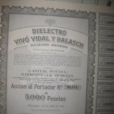 Coleccionismo Acciones Españolas: ACCION-DIELECTRO VIVO VIDAL Y BALASCH--- ABRIL DE 1960. Lote 35124762
