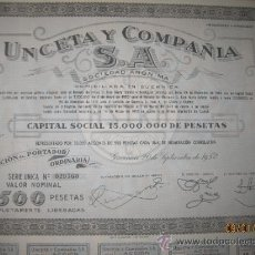 Collezionismo Azioni Spagnole: ACCION- UNCETA Y COMPAÑIA, S.A.-- SEPTIEMBRE 1952. Lote 35125611