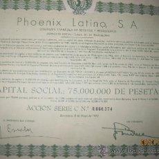 Collezionismo Azioni Spagnole: ACCION- PHOENIX LATINO, S.A. --- MAYO DE 1972. Lote 35125632