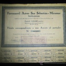 Coleccionismo Acciones Españolas: ACCION FERROCARRIL AEREO SAN SEBASTIAN MIRAMAR AÑO 1929 BARCELONA. Lote 39964366