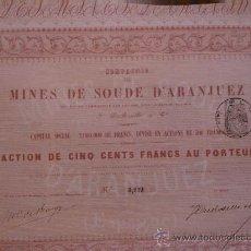 Coleccionismo Acciones Españolas: MINAS DE SOSA DE ARANJUEZ (MADRID) SIGLO XIX (COLO ROJO). Lote 57166847