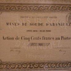 Coleccionismo Acciones Españolas: MINAS DE SOSA DE ARANJUEZ (MADRID) SIGLO XIX (COLO MARRÓN). Lote 35326619