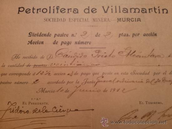 ACCION REPARTO DIVIDENDO PETROLIFERA DE VILLAMARTIN ( CADIZ ) SEDE MURCIA. FIRM ISIDORO DE LA CIERVA (Coleccionismo - Acciones Españolas)
