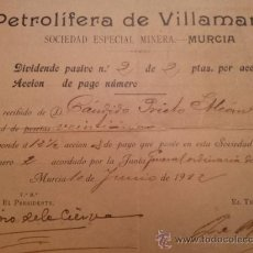 Coleccionismo Acciones Españolas: ACCION REPARTO DIVIDENDO PETROLIFERA DE VILLAMARTIN ( CADIZ ) SEDE MURCIA. FIRM ISIDORO DE LA CIERVA. Lote 35365406