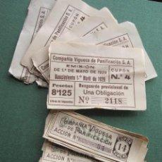 Coleccionismo Acciones Españolas: COMPAÑIA VIGUESA DE PANIFICACION 1928 -LOTE DE 13 RESGUARDOS Y 41 CUPONES, TODOS NUMEROS DIFERENTES . Lote 35381276