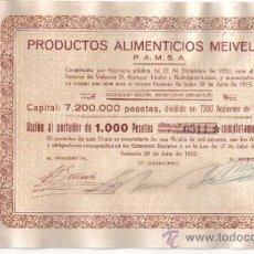 Coleccionismo Acciones Españolas: ACCION 1000 PTS PRODUCTOS MEIVEL VALENCIA 1955 FIRMADAS SIN USAR. Lote 35442435