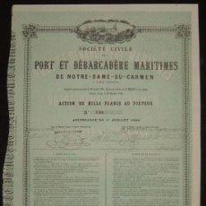 Coleccionismo Acciones Españolas: SOCIEDAD CIVIL DEL PUERTO Y DESEMBARCADERO MARÍTIMO DE NUESTRA SEÑORA DEL CARMEN, CÁDIZ (1868). Lote 35493018