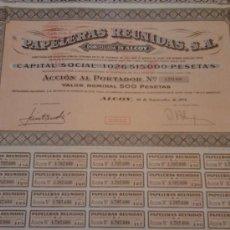 Coleccionismo Acciones Españolas: ACCION, PAPELERAS REUNIDAS,S.A. ALCOY. Lote 35591640