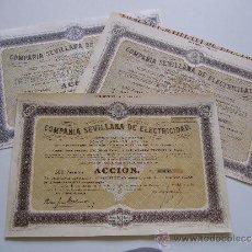 Coleccionismo Acciones Españolas: LOTE DE 3 ACCIONES COMPAÑIA SEVILLANA DE ELECTRICIDAD AÑOS 1951. 1957 Y 1968?. Lote 35596366