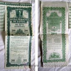 Coleccionismo Acciones Españolas: DEUDA PERPETUA DE ESPAÑA AL 4% INTERIOR. SERIE A. 500 PESETAS. 1930. Lote 35698189