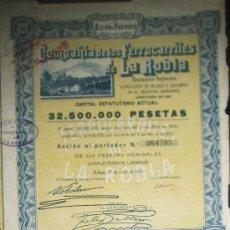 Coleccionismo Acciones Españolas: ACCION COMPAÑIA DE LOS FERROCARRILES DE LA ROBLA SOCIEDAD ANONIMA BILBAO AÑO 1930. Lote 35666500