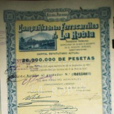 Coleccionismo Acciones Españolas: ACCION COMPAÑIA DE LOS FERROCARRILES DE LA ROBLA SOCIEDAD ANONIMA BILBAO AÑO 1928. Lote 35666694