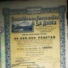 Coleccionismo Acciones Españolas: ACCION COMPAÑIA DE LOS FERROCARRILES DE LA ROBLA SOCIEDAD ANONIMA BILBAO AÑO 1939. Lote 35666883