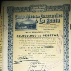 Coleccionismo Acciones Españolas: ACCION COMPAÑIA DE LOS FERROCARRILES DE LA ROBLA SOCIEDAD ANONIMA BILBAO AÑO 1941. Lote 35666928