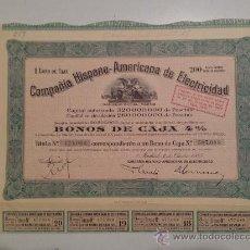 Coleccionismo Acciones Españolas: BONO COMPAÑÍA HISPANO-AMERICANA DE ELECTRICIDAD. BONO AL 4%. AÑO 1945. Lote 35908989